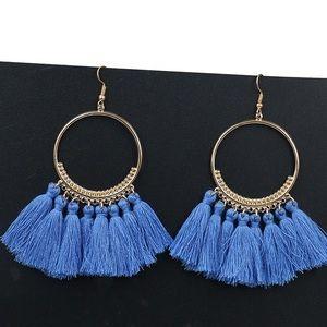 Bohemian Tassel Fringe Hook Earrings